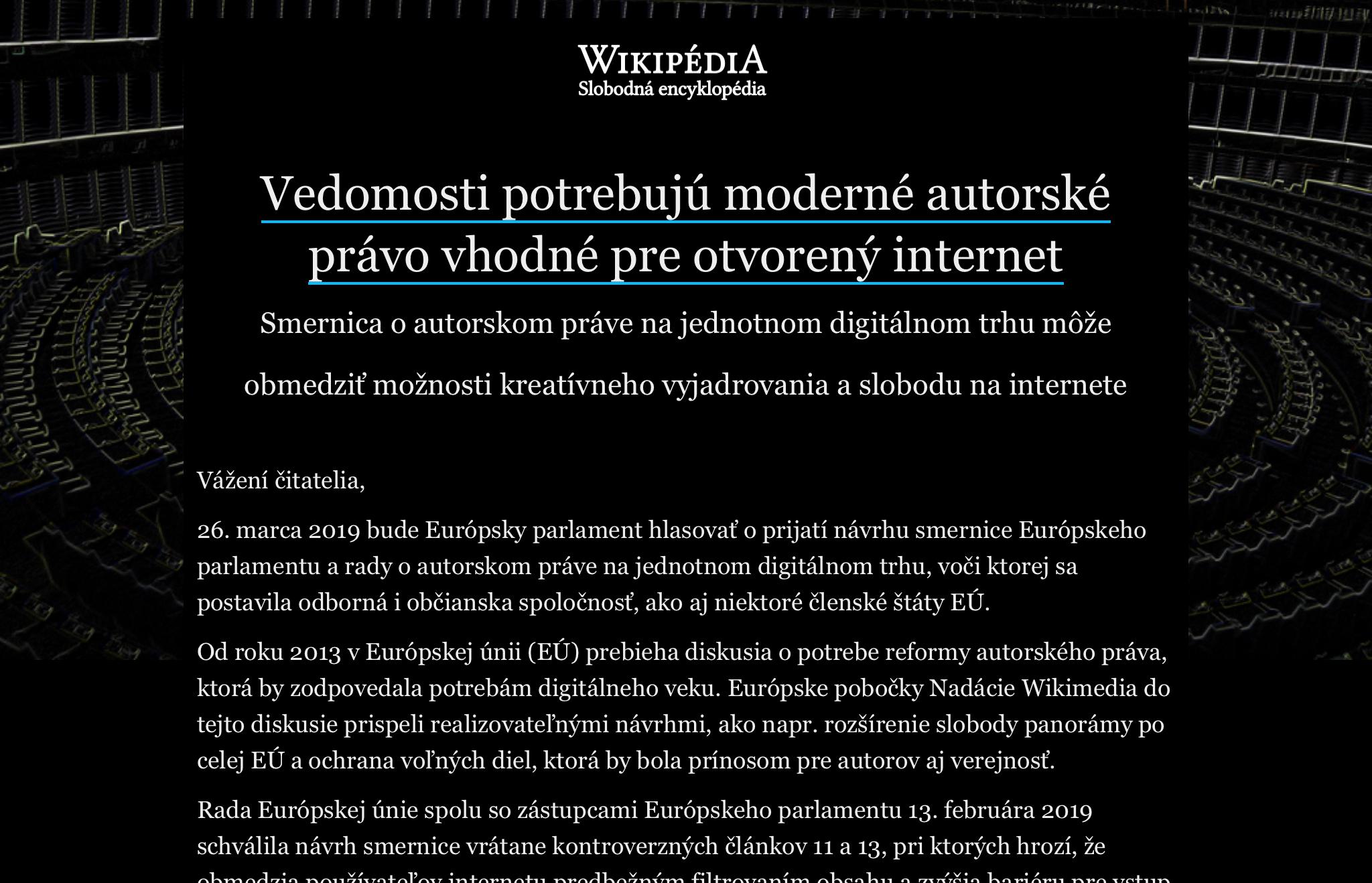 Wikipédia nefunguje