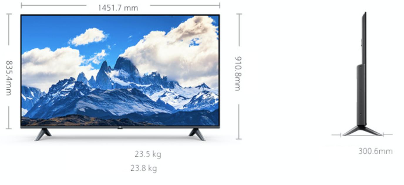 rozmer xiaomi 4k tv e65a