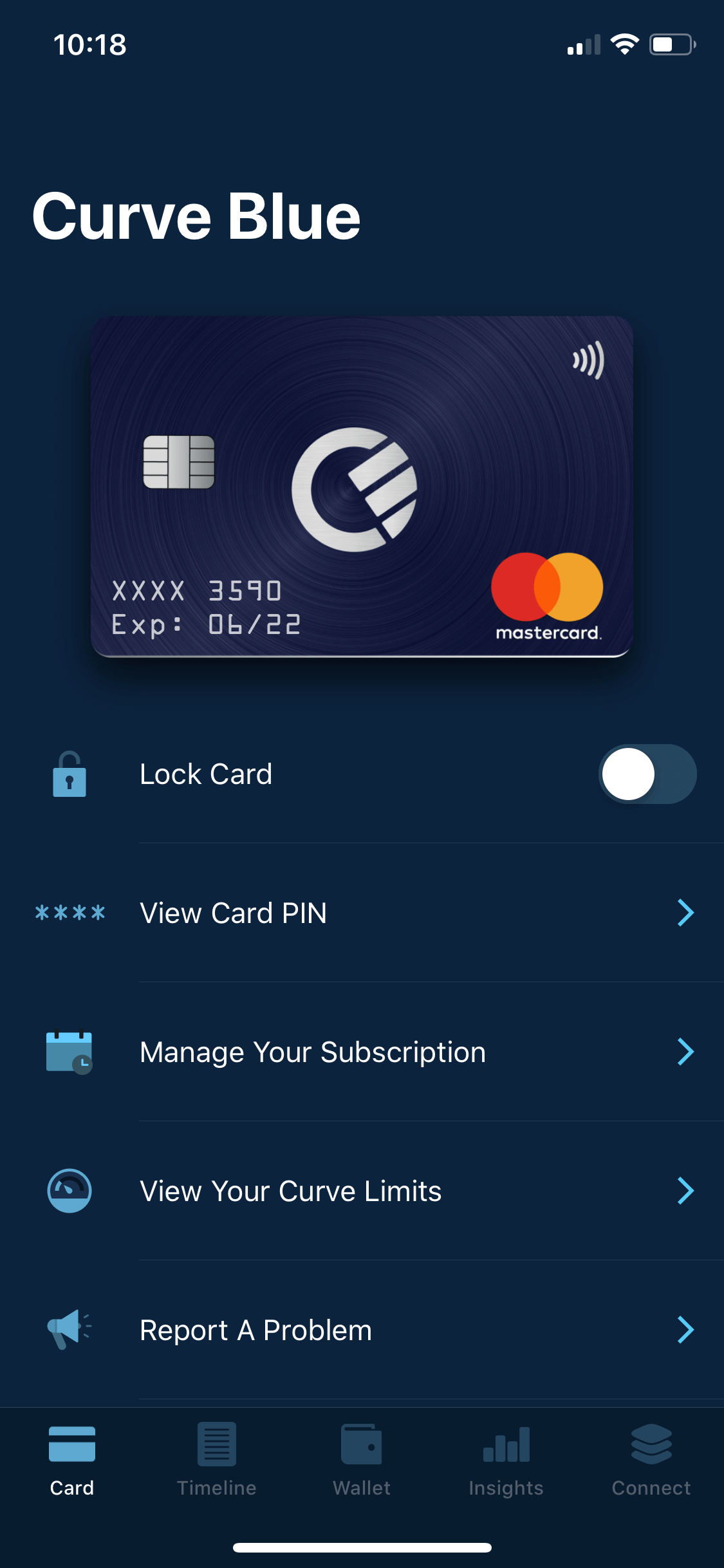 zablokovanie curve karty