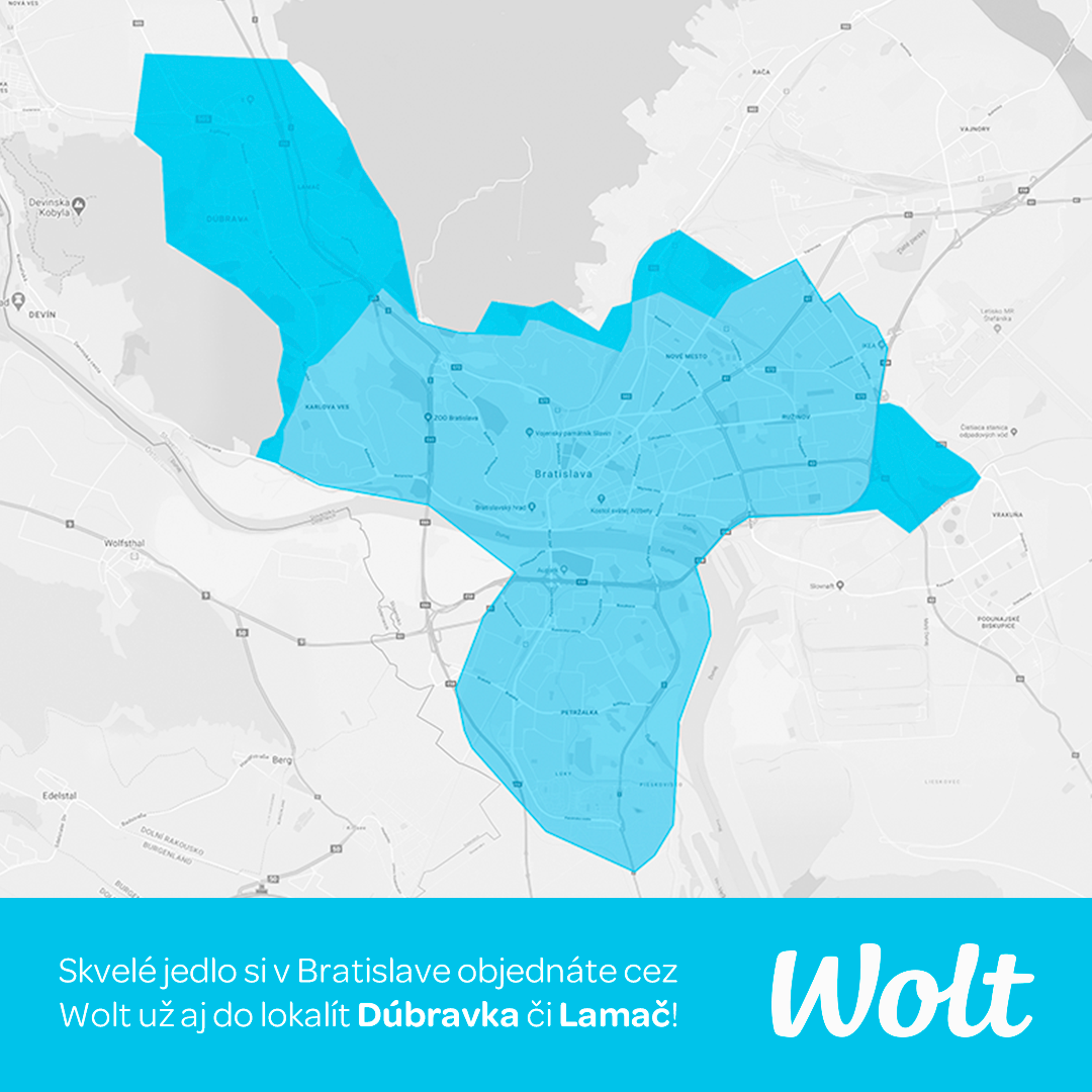 Wolt - promo kód - Doručenie Bratilslava, Lamač, Dúbravka, Petržalka, Ružinov, Staré a Nové Mesto