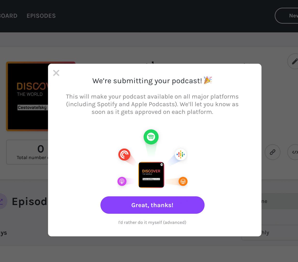 Anchor - Hotovo! Podcast je vytvoreny