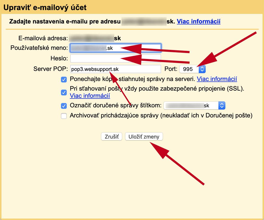 Nastavenie POP3 pre Gmail