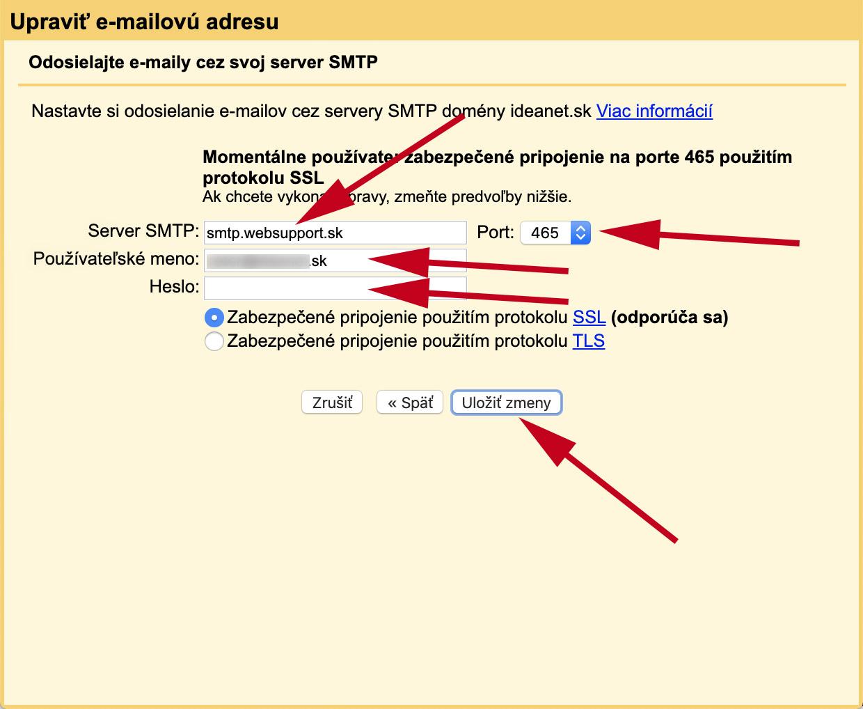 Nastavenie SMTP pre Gmail