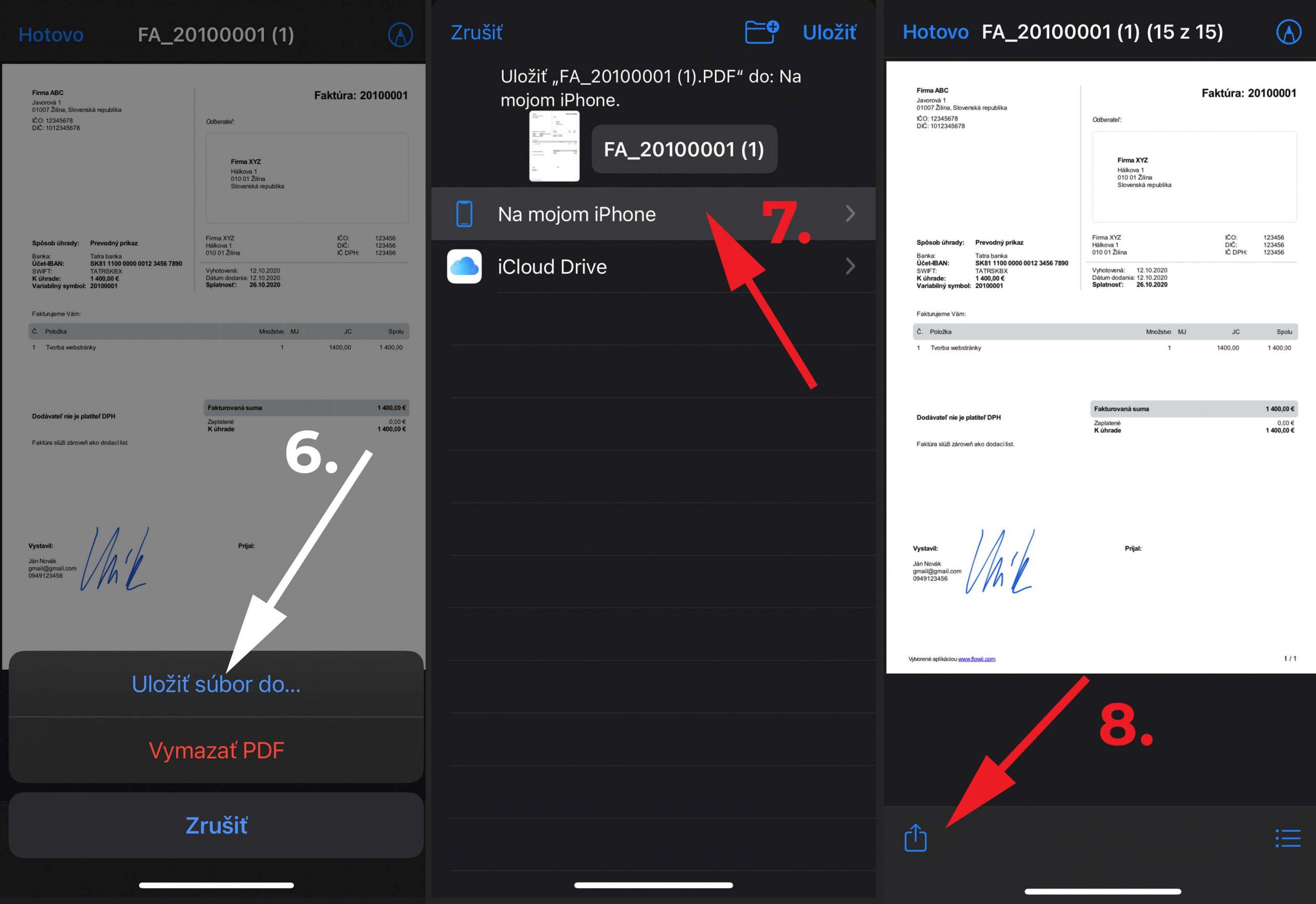 Podpis pdf dokumentu na mobile