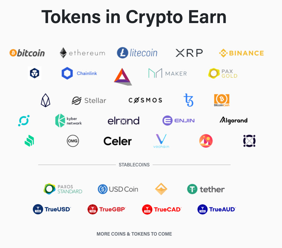 Crypto.com - podporované tokeny