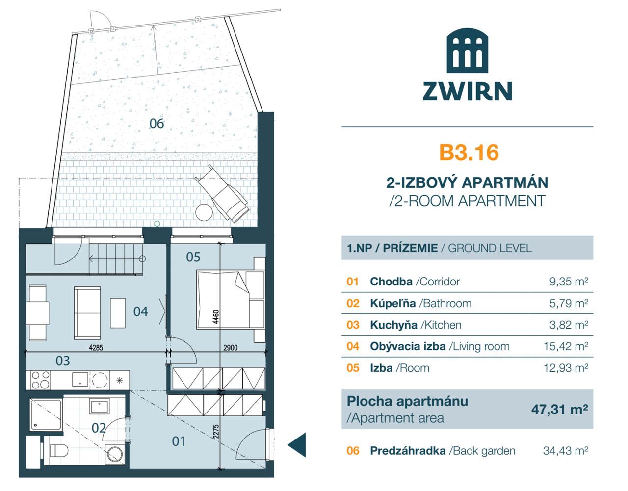 Zwirn 2 izbovy byt + predzáhradka