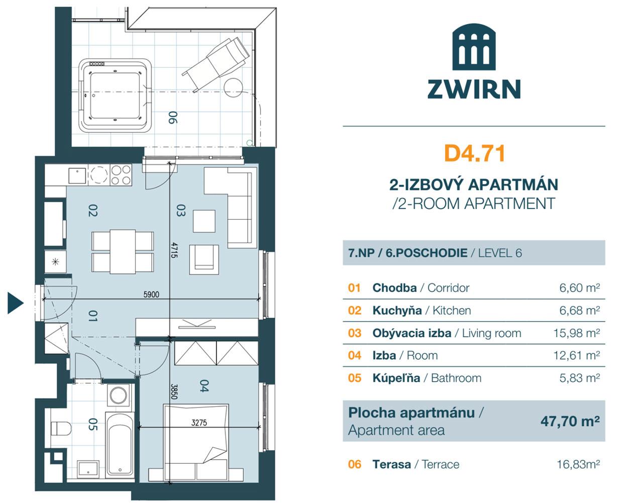Zwirn 2 izbový byt s terasou