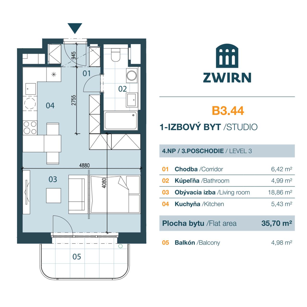 Zwirn 1 izbovy byt