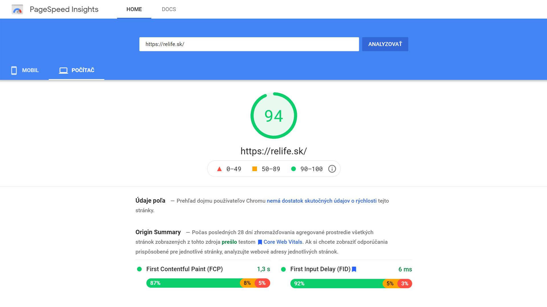 Rýchlosť webu